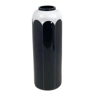 Bohemian Modernist Glass Tall Black and White Enameled Vase For Sale
