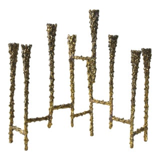 Midcentury Modern Brutalist Tiered Brass Candle Holder For Sale