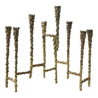 Midcentury Modern Brutalist Tiered Brass Candle Holder For Sale