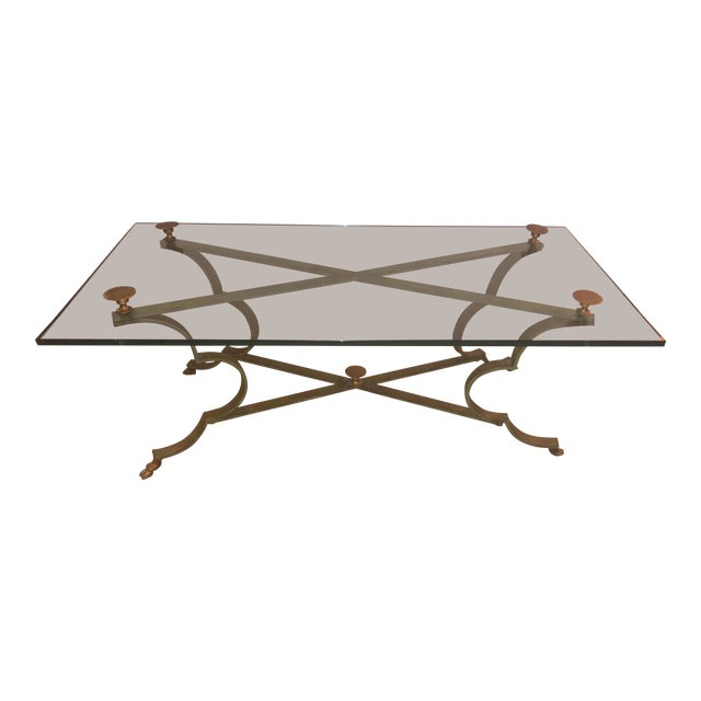 Gilt Brass & Iron Coffee Table For Sale
