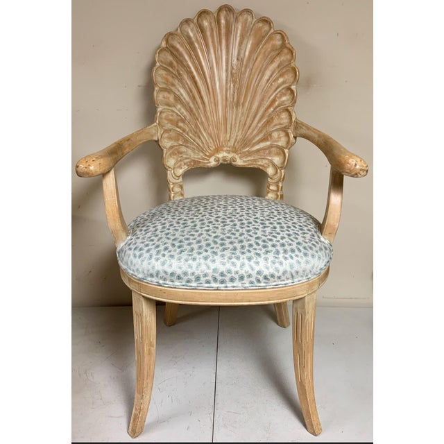 Italian Pair of Shell Backed Chairs in Leopard Upholstery For Sale - Image 3 of 12