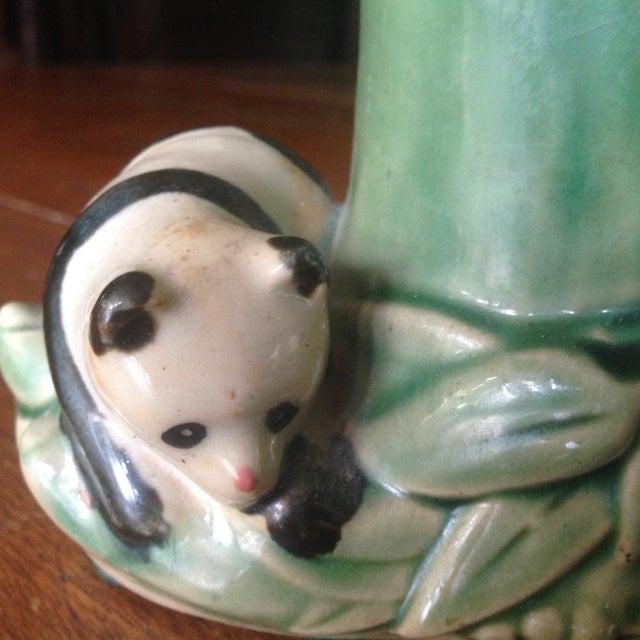 Mid-Century Faux Bamboo Ceramic Panda Vase For Sale - Image 7 of 11