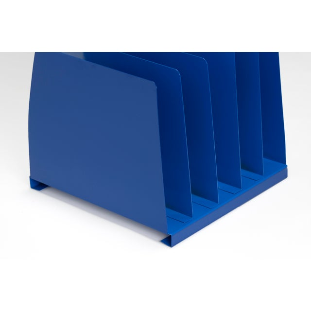 1970s Desktop File Holder, 5 Slot, Refinished in Blue For Sale In Los Angeles - Image 6 of 7