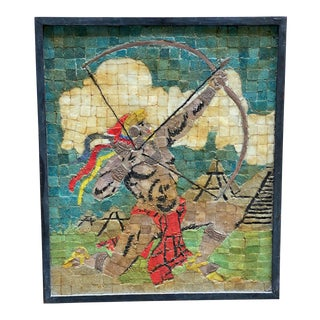 1950s Aztec Warrior Inlaid Glass Mosaic and Copper Artwork For Sale