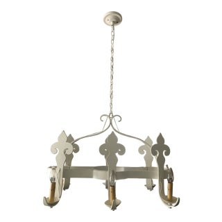 Large 1920s French-Made Iron 6 Arm Fleur-De-Lis Chandelier For Sale