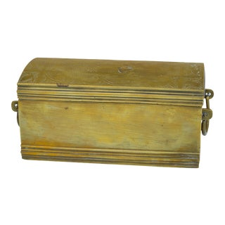 Brass Box W/ Ornate Engravings & Handles For Sale