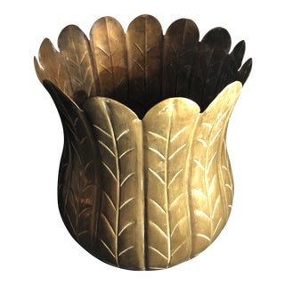 Early 21st Century Vintage Brass Planter For Sale
