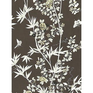 Sample, Scalamandre Jardin De Chine, Espresso Fabric For Sale