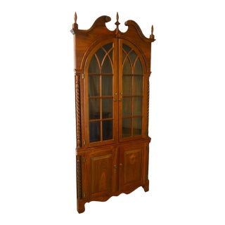 Chippendale Style Hand Crafted Solid Walnut Corner Cabinet For Sale
