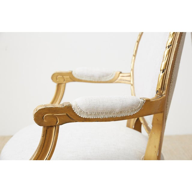 White Pair of Louis XVI Style Giltwood Linen Fauteuil Armchairs For Sale - Image 8 of 13
