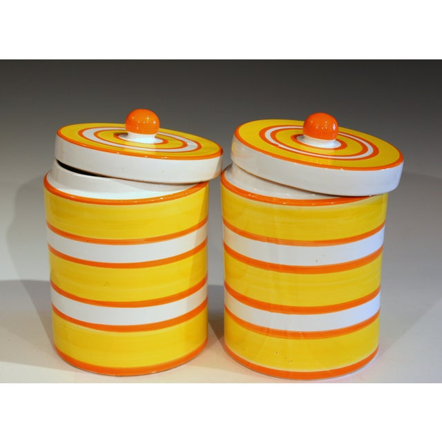 """Large pair vintage Italian pottery canister jars with cheerful stripes in bright colors, circa 1960's. 10"""" high, 7""""..."""