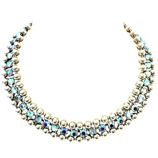 21st Century Sterling & Swarovski Crystal Choker Necklace By, De Luxe Nyc A'dam For Sale