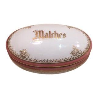 1950s Oval Porcelain Match Box W/Match Striker Inside For Sale