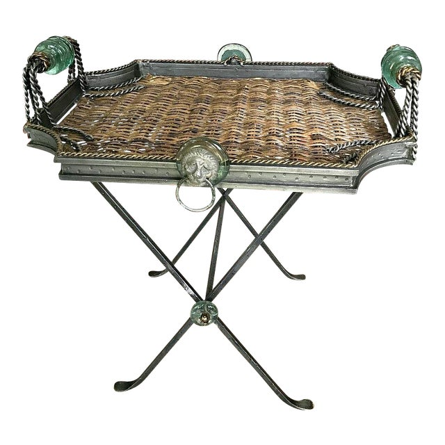 Neiman Marcus Folding Metal & Rattan Tray Table For Sale