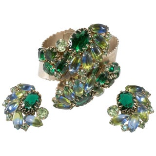 Wide Hinged Cuff Bracelet & Earrings Set Blue Green Rhinestones Vintage 1950s For Sale