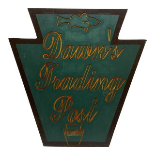 "1960s Vintage ""Dawn's Trading Post & Notary"" Keystone State Business Sign For Sale"