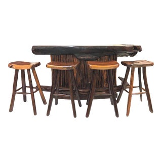 Rare Rosewood Bar and Stools For Sale