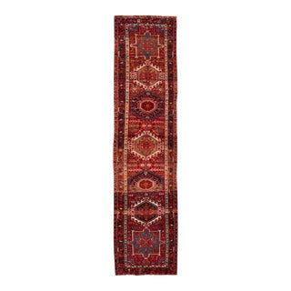 """Early 20th Century Vintage Persian Heriz Rug, 3'2"""" X 12'10"""" For Sale"""