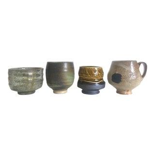 Vintage Mid-Century Modern Studio Art Pottery Ceramic Tea Cup Mugs - 4pc Set