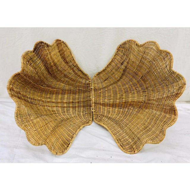 Brown Vintage Woven Wicker Clam Shell Basket For Sale - Image 8 of 13