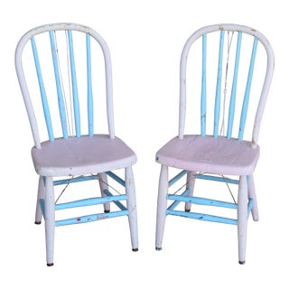 Charming Shabby Chic-Style Pastel Blue & Pink Children's Chairs - Set of Two For Sale