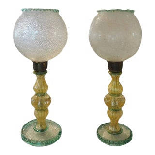 1940s Green and Gold Murano Glass Lamps by Barovier - a Pair For Sale