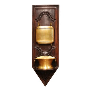 19th Century French Provincial Brass Lavabo Fountain on Carved Oak Wall Mount For Sale