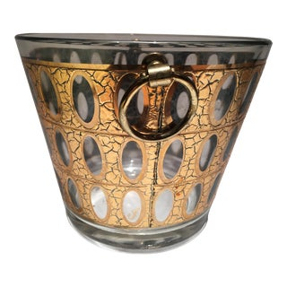 1960s Vintage Gold Culver Glass Ice Bucket For Sale