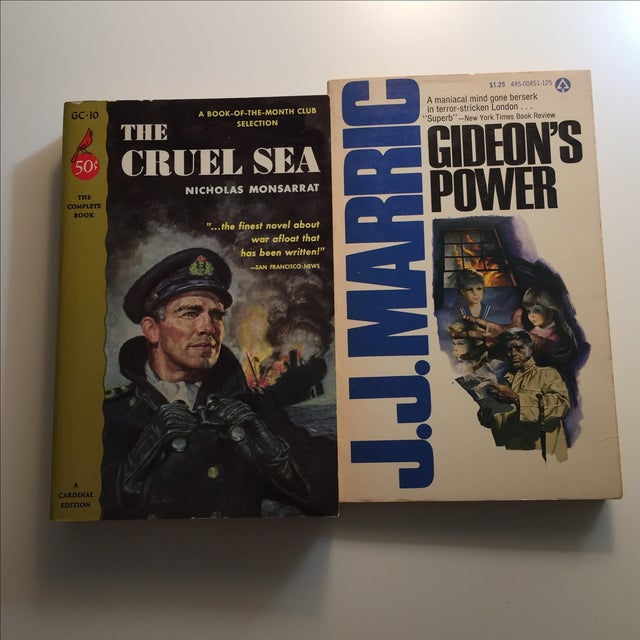"""A pair of two classic """"manly"""" books on cops and the navy. The Cruel Sea is as unread. Gideon's Power that has been read once."""