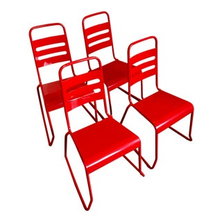 Land of Nod Children's Red Stackable Chairs - Set of 4 For Sale