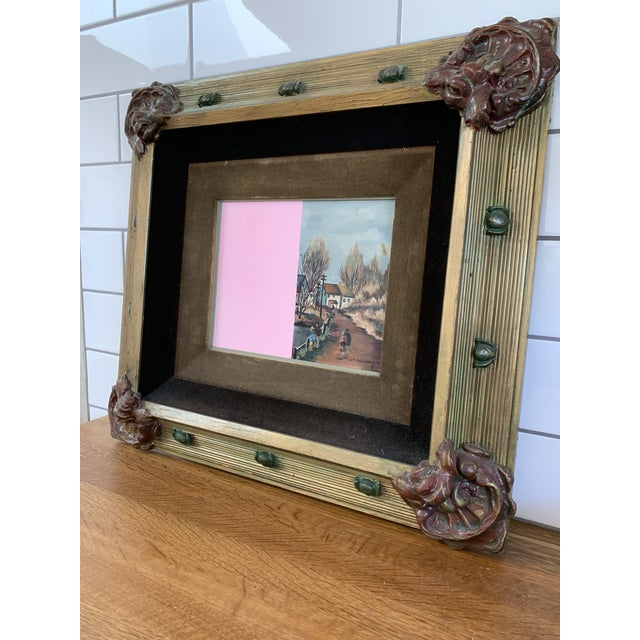 Traditional Vintage Mid-Century Original Color Block Oil Painting For Sale - Image 3 of 7