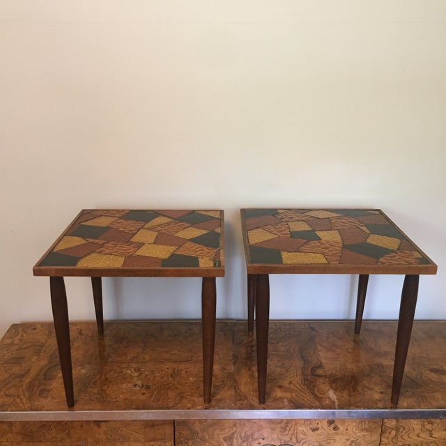 Pair of Mosaic Glass Top Side Tables by Jon Matin For Sale - Image 4 of 10