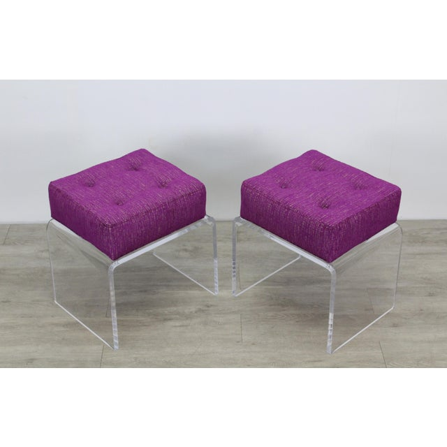 Pair of Waterfall Acrylic & Chenille Benches For Sale In Miami - Image 6 of 6