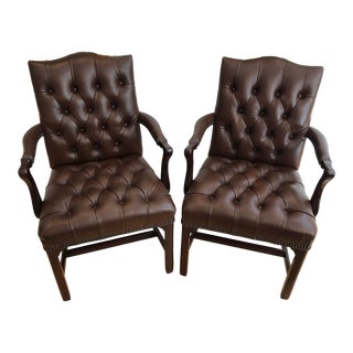 Hancock & Moore Tufted Leather Arm Chairs #9117 - a Pair For Sale