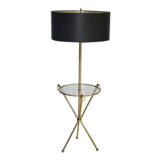 Brass Tripod Floor Lamp with Custom Shade For Sale