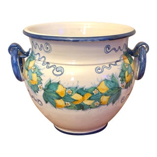 Large Italian Pottery Lemon Swag Planter For Sale