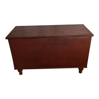 19th Century Primitive Pine Red Paint Dovetailed Blanket Chest