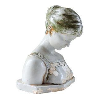 Antique Glazed Plaster Bust of Woman For Sale