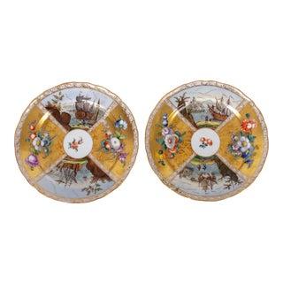 18th Century Meissen Plates Kauffahrtei Scenes - a Pair For Sale