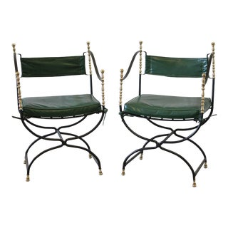 Campaign Iron and Brass Chairs - a Pair