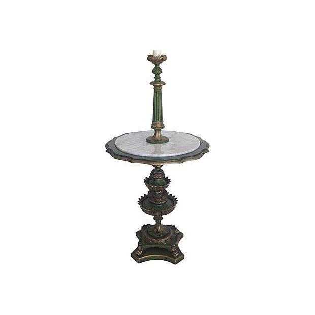 Italian Italian Floor Lamp With Marble Top Table For Sale - Image 3 of 5