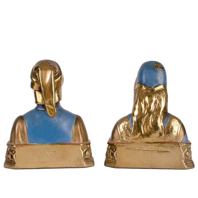 Dante and Beatrice Bronze Bookends For Sale - Image 5 of 6