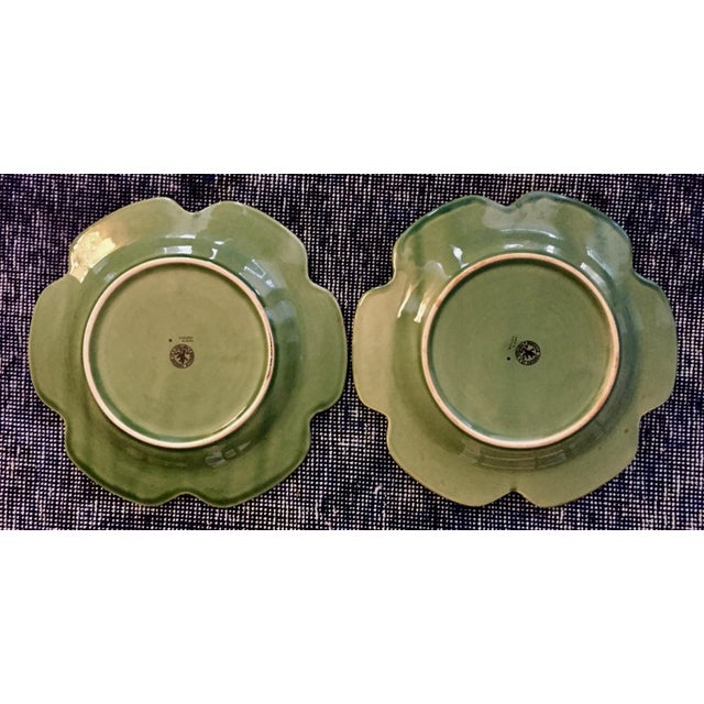Mediterranean Bordallo Pinheiro Cabbage Leaf Majolica Plates - a Pair For Sale - Image 3 of 10