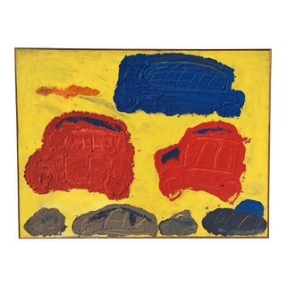 "1950s ""Traffic"" Art Brut Brooklyn Museum Mic Century Painting For Sale"