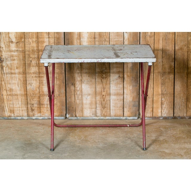 1920s French Industrial Iron Folding Table with Red Base, circa 1920 For Sale - Image 5 of 6