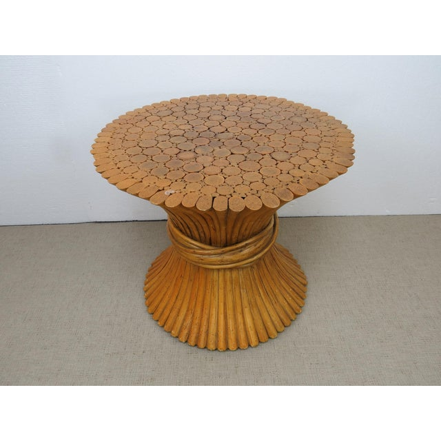 Vintage Hollywood Regency Bamboo Rattan Sheaf of Wheat McGuire Side Table For Sale - Image 11 of 12