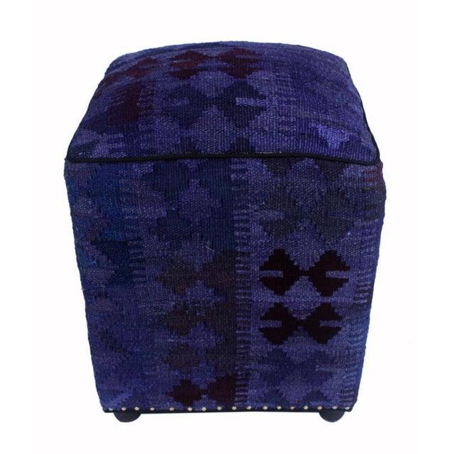 Asian Arshs Demetra Purple/Drk. Gray Kilim Upholstered Handmade Ottoman For Sale - Image 3 of 8