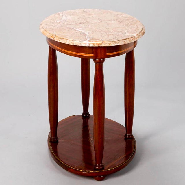 Brass French Directoire Oval Center Table with Rouge Marble Top For Sale - Image 7 of 7