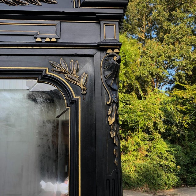 19th Century French Napoleon III Ebonized Armoire For Sale - Image 9 of 13