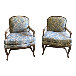 Louis XV Style French Bergere Chairs - a Pair For Sale